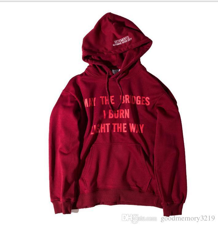 oversize palaces Skateboards Sweatshirts Kanye Yeezus Hip Hop men women Vetements May Bridges wine red Hoodie sportswear
