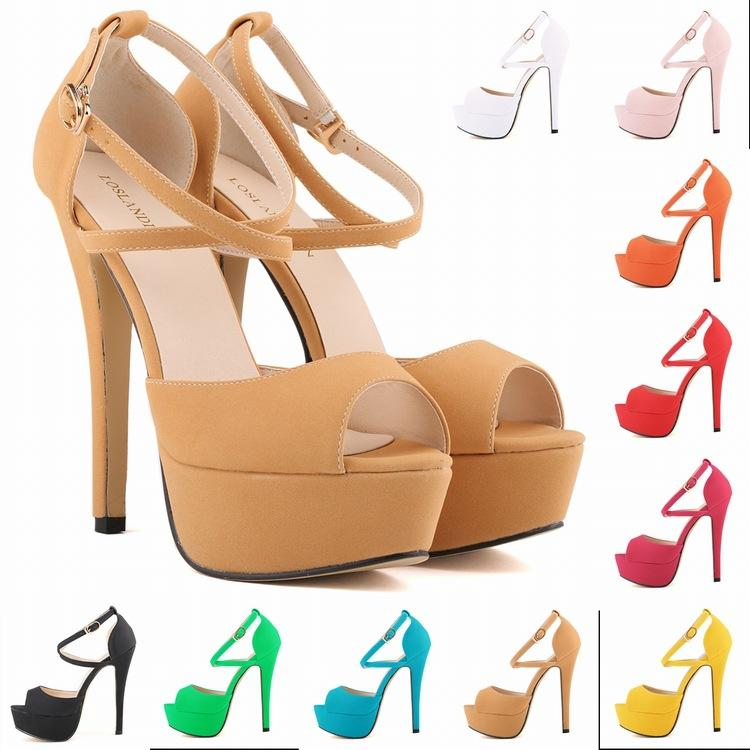 9f569251f7d Sapato Femin Hot New Open Toe Strappy Platform Faux Suede Thin High Heels  Sandals Shoes Sapatos Femininos14CM US SIZE 4 11 D0101 Gladiator Sandals  Wedding ...