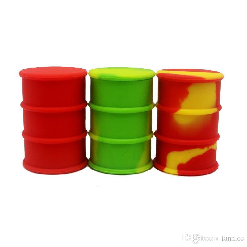 Barril de tambor de aceite contenedor antiadherente 26 ml Silicona Dab contenedor de almacenamiento Tarro de tornillo superior / color mezclado