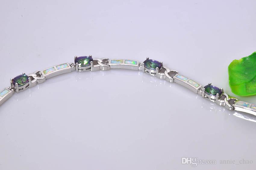 Vendita al dettaglio all'ingrosso Moda 8.0 pollici Fine White Fire OpalCubic zirconia Bracciale 925 gioielli nastro sterlina BNT16022710