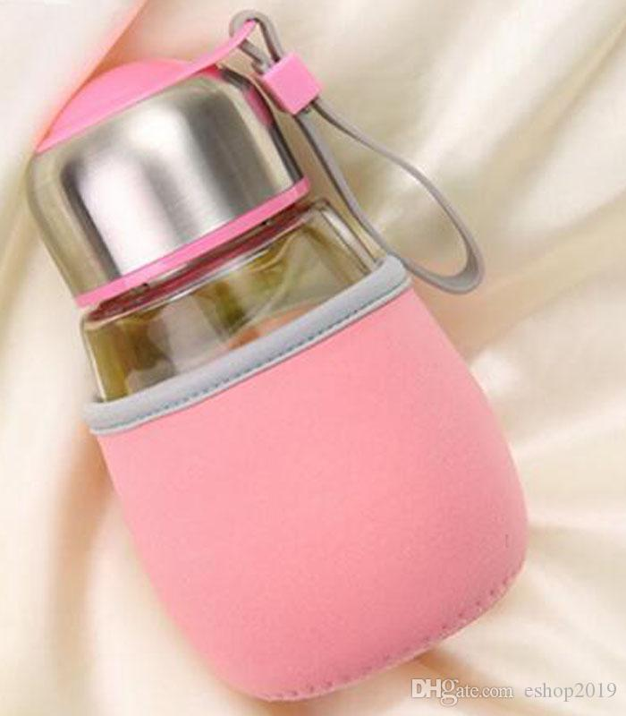 Popular taza de cristal de 400 ml botella de cristal de forma de pingüino taza con infusión de té bolsa de regalo estudiantes taza de viajes de deportes Bootle botellas taza