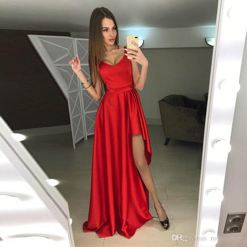 New Custom Made Scoop Neck Red Evening Dress with Slit High Quality Party Gowns for Teens