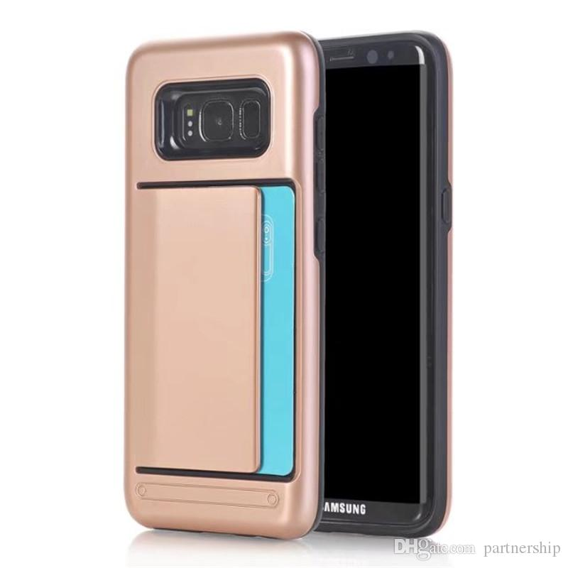 bb41ded56 Hybrid Hard Armor Credit Card Slot Back Cover Case For Samsung Galaxy S3 S4  S5 S6 S7 edge   S8 Plus Silicone+PC Protective Shell