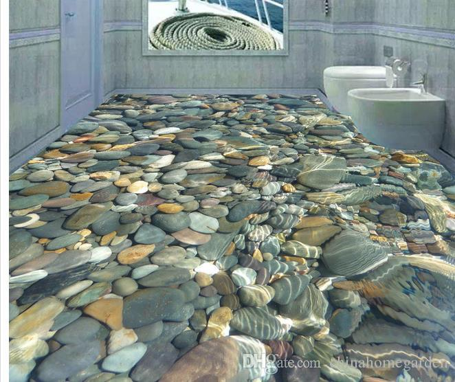 3d Realistic Water Pebble Floor Tile Decorative Painting ...