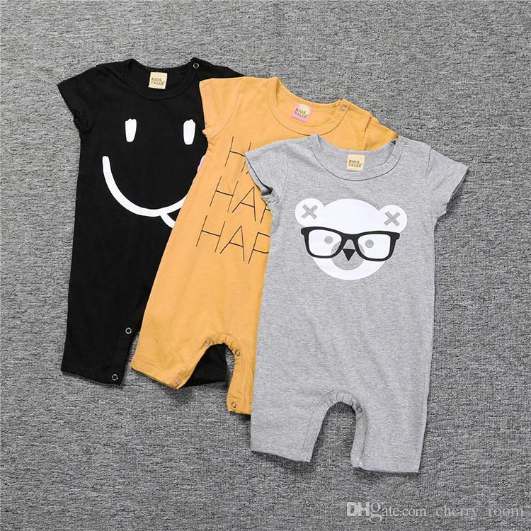 Cartoon Baby Romper New Boys Shost Sleeve Infant Bodysuit Cute Bear Letter Printed Toddler Onesie Cotton Summer Boy Jumpsuit C1690