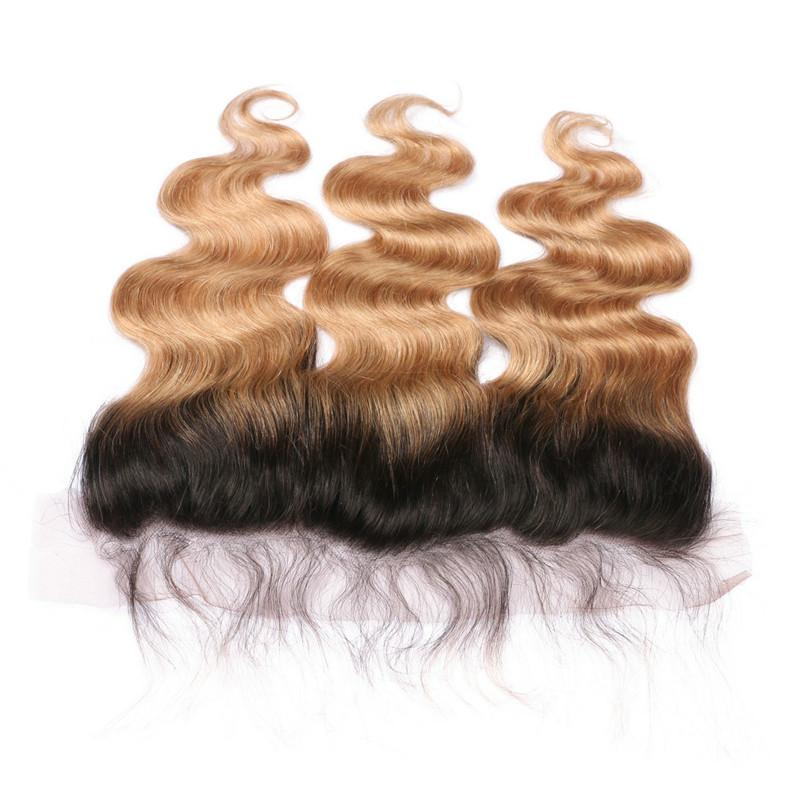 Dark Roots Honey Blonde Ombre Brazilian Virgin Human Hair Wefts 3Bundles With Body Wave 1B/27 Light Brown Ombre Full Lace Frontal 13x4
