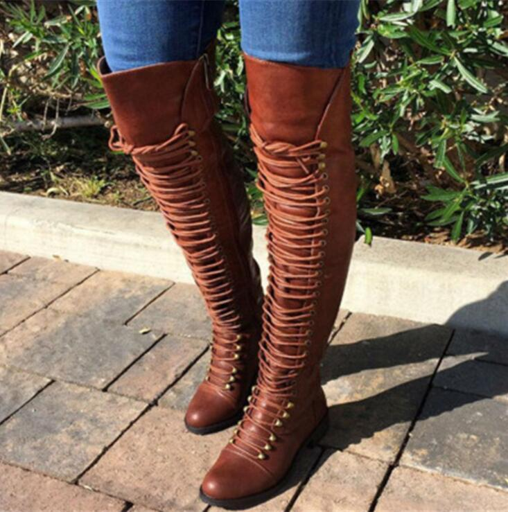 3fb46d810b5 Women Motorcycle Boots Lace Up Knee High Boots For Women Platform Shoes  Chunky Heel Leather Black Army Boots Female Shoes For Women Desert Boots  From Tework ...