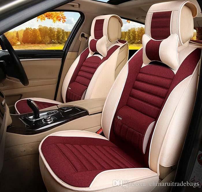 Auto Car Seat Cover Full Sets Universal Fit 5 SUV Sedans Front Back Mats Automotive Linen Buckwheat Shell Health Fabric Padding Foam