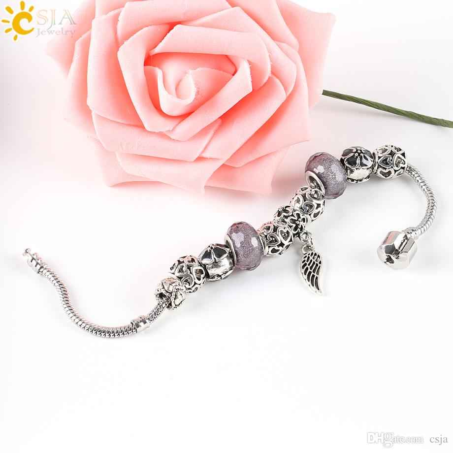 CSJA Angel Wing Pan Bracelet Hollow Antique Silver Plated Love Heart Jewelry Pink Purple Grey Flower Glass Beads Bangle E139
