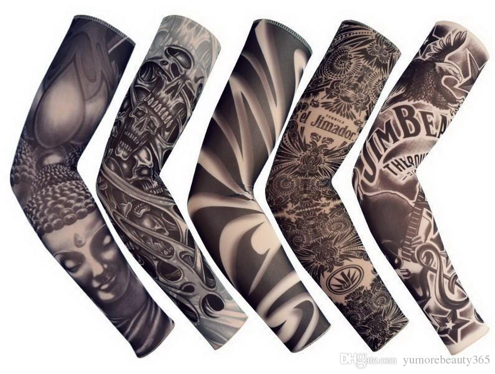 New Mixed 92%Nylon Elastic Fake Temporary Tattoo Sleeve Designs Body Arm Stockings Tattoo For Cool Men Women