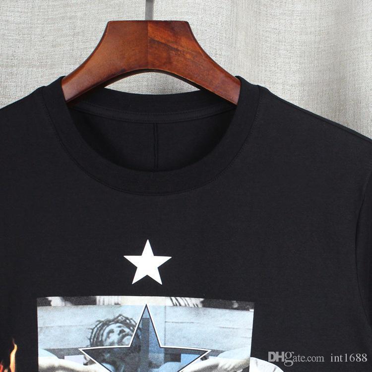 2017fashion Mens T-shirts Men Shirt Casual tshirt Tee Tops Mens flame people all over the sky star formation jasmine Jesus three deer shark