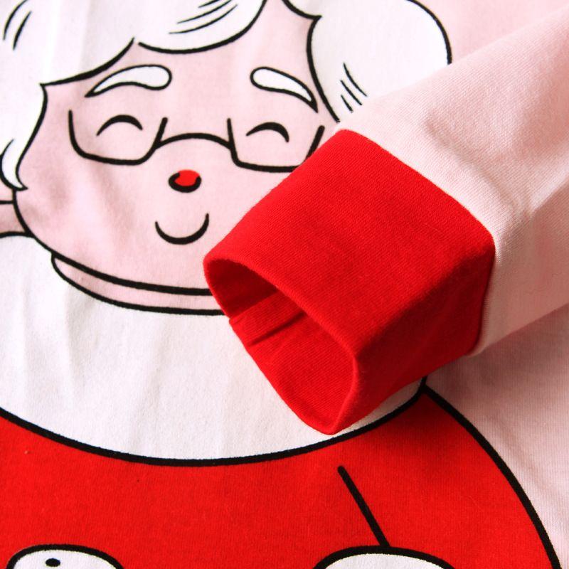 Pijamas de natal Conjunto de Roupas Bonito Meninas Rosa Sleepwear Papai Noel Impressão Sleepwear das Crianças Primavera Outono Meninas De Natal Pijama