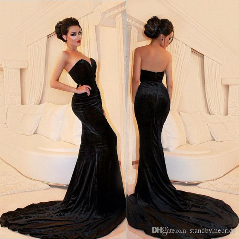 2017 Sexy Black Velvet Prom Dresses Plus