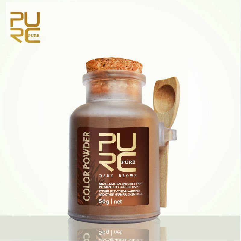Dark Brown Color Organic Herbal Hair Dye Powder For Hair Coloring