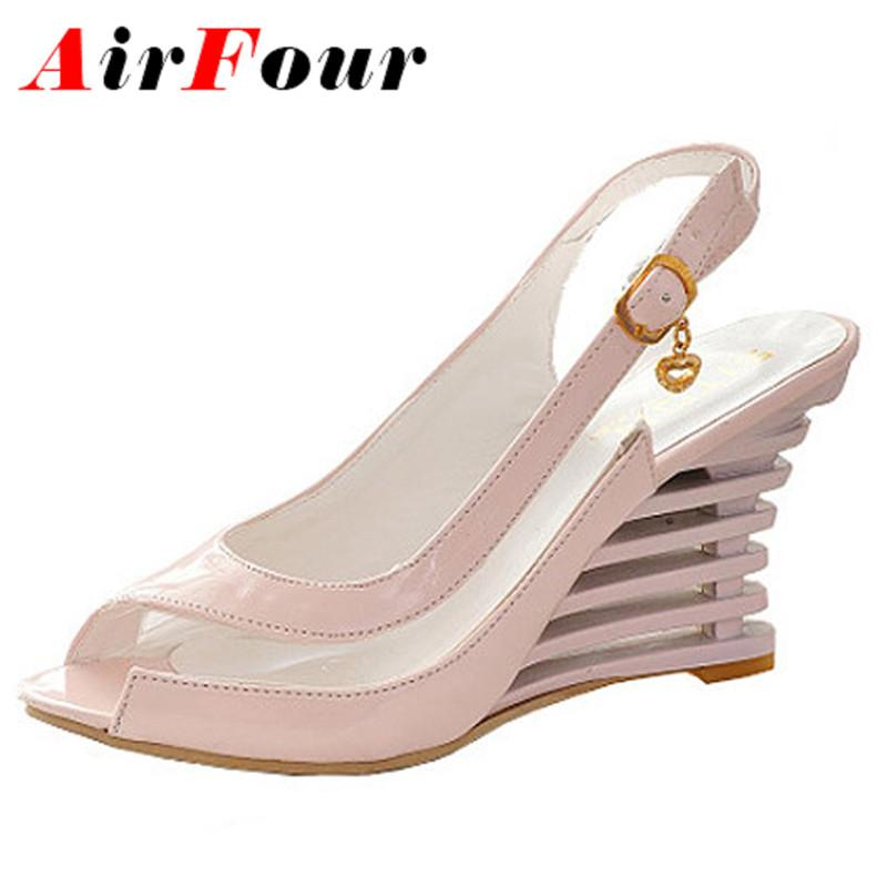 5a4c20414bc8 Wholesale- Airfour Wedge Heel Sandals Buckle Style Open Toe Shoes ...