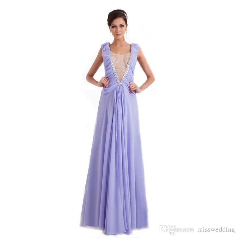 02a6b9959afc New Style Lavender Chiffon Evening Dress A Line With Beads Transparent  Neckline Competitive Price Ladies Long Gown Evening Dresses White Evening  Elegant ...