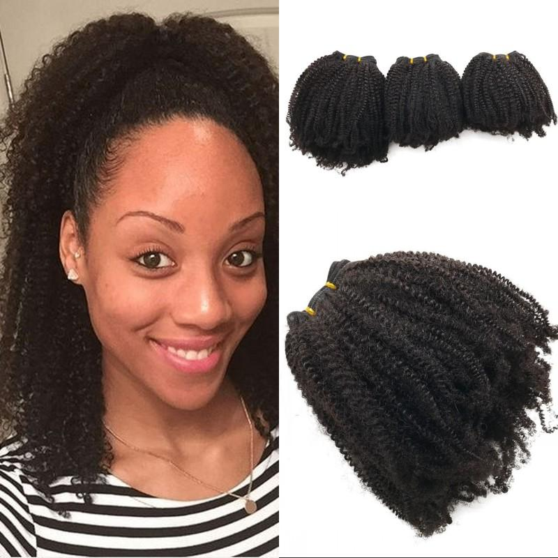 Human Hair Weave for Black Women Peruvian Hair Bundles 3pcs Afro Kinky Weaving Hair Free Shipping FDSHINE