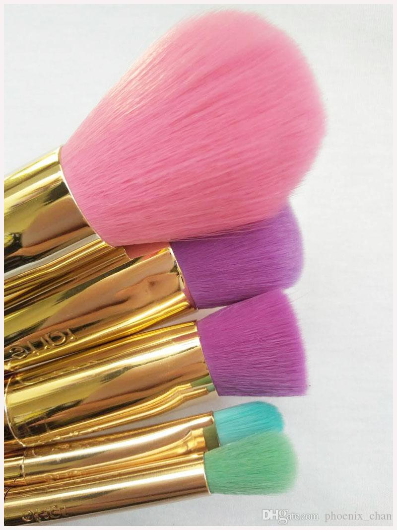 Conjuntos de pincéis de maquiagem escova de cosméticos 5 cores brilhantes rosa ouro Espiral haste de make-up escova unicórnio parafuso ferramentas de maquiagem Frete grátis