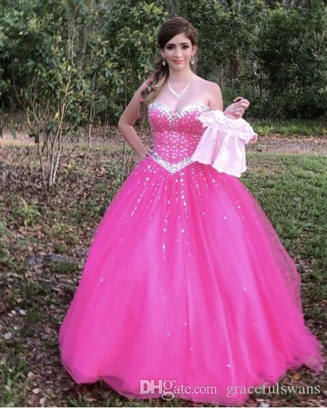 d6a67c52a6f Puffy Tulle Sweetheart Fuchsia Quinceanera Dresses 2017 Dazzling Beaded  Sequins Quinceanera Gowns Ball Gown Sweet 16 Birthday Dresses Quinceanera  Dresses In ...
