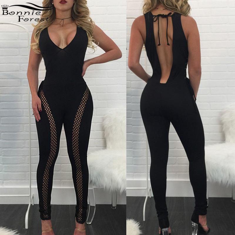 ed2dc6c7eab1 Wholesale-Bonnie Forest Open Back Mesh Detail Skinny Jumpsuit Romper Summer  Womens Sexy Hollow-Out Black Bodycon Jumpsuits Female Overalls Female  Overalls ...