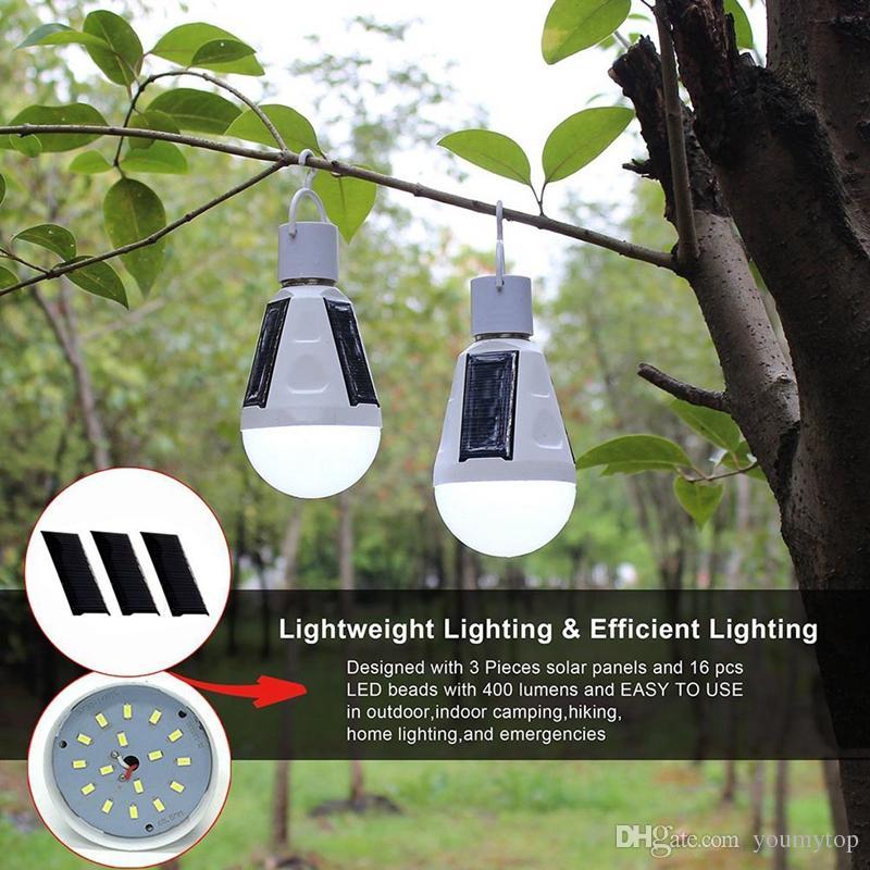 Nuovo Solar Powered lampadina portatile della lampada LED E27 7W del pannello solare a LED campeggio Notte attività esterne di emergenza