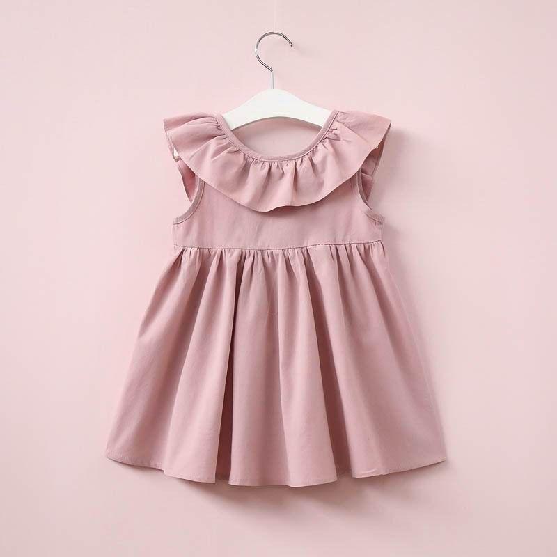 2017 Summer New Girls Dresses Ruffle Collar Backless Bow Sleeveless Sundress Children Clothes 2-6Y 16357