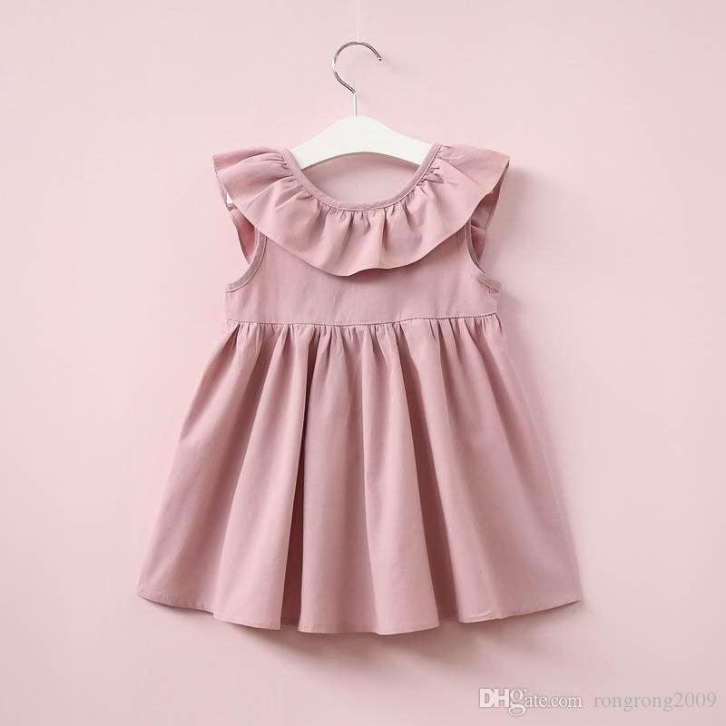 Perakende 2017 Yaz Yeni Kız Elbise Fırfır Yaka Backless Yay Kolsuz Sundress Çocuk Giysileri 2-6Y 16357