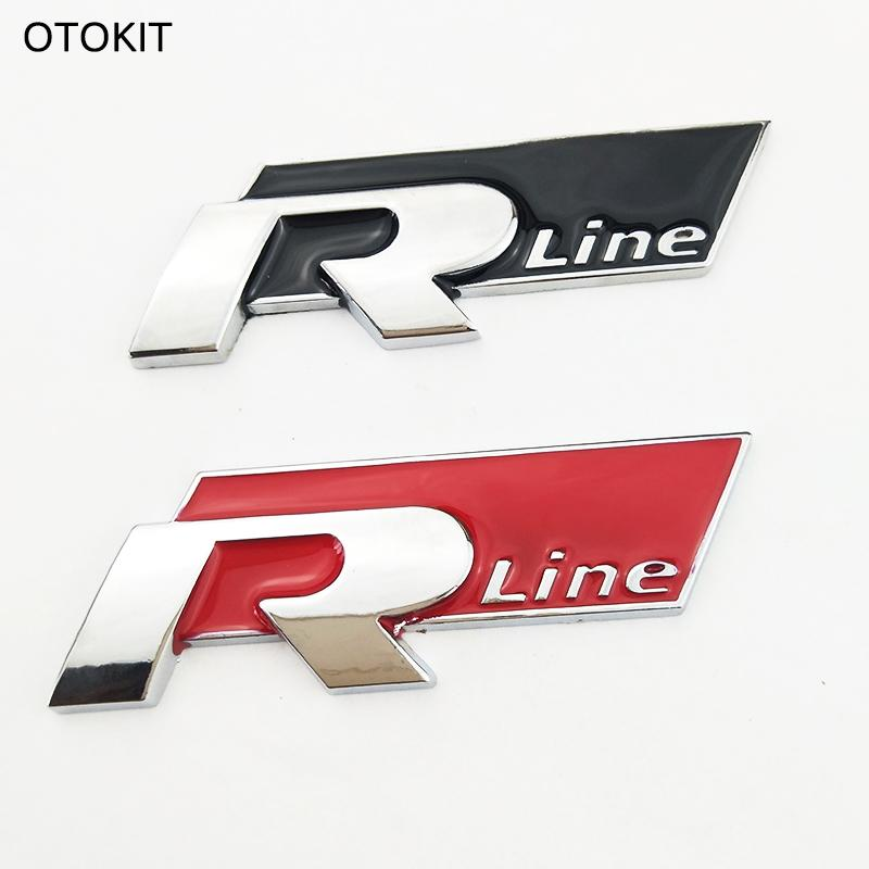 Cool 3d metal car sticker r line vehicle logo sport car cover for vw golf 6 cc scirocco suv all auto decal car styling car sticker auto parts 3d sticker