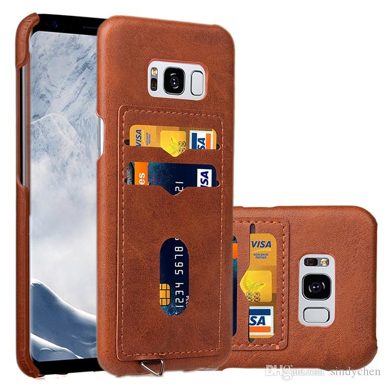Latest design PU Leather Case for Samsung S8 S8 plus Contracted dermatoglyph phone case with card slot whlesale