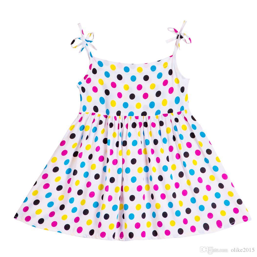 929b06a8445d9 Acheter Kseniya Enfants 2017 Bébé Filles Été Plage Dot Impression Coton Robe  Petite Fille Robes Enfants Filles Vêtements Mignon Style Fleur Robe De   6.34 Du ...