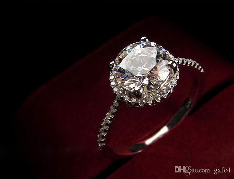 الطاووس ستار 2 قيراط خلق الماس الصلبة 925 فضة الزفاف وعد خاتم الخطوبة والمجوهرات
