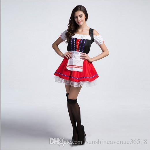 2017 Oktoberfest Beer Girl Maid Dress Sexy Cosplay Halloween Costumes Club Stage Performance Clothing Hot Selling