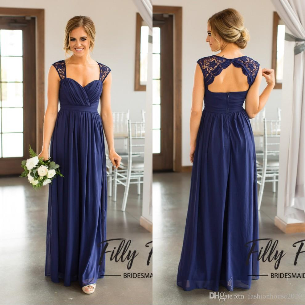 Sexy Long Royal Blue Chiffon Beach Bridesmaid