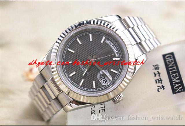 Mode Luxus Herren 218238 II Edelstahl Silber 41mm Größte Größe ungetragen Automatische mechanische Bewegung Herren Watchuhren