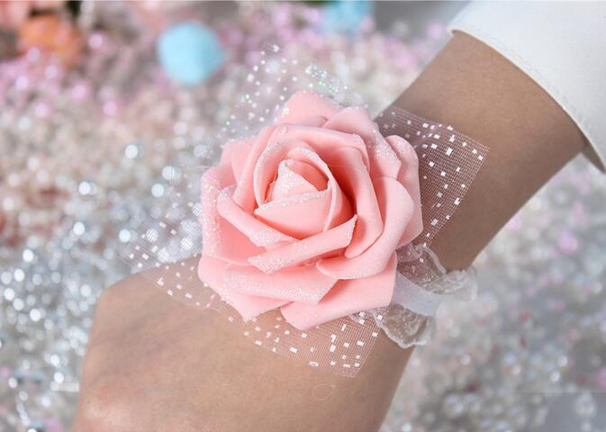 Eco-Friendly Real Image Cheap Pink Bride Bridesmaid Wrist Flowers Cheap Wedding Supplies Ribbon Flower for Wedding Accessories