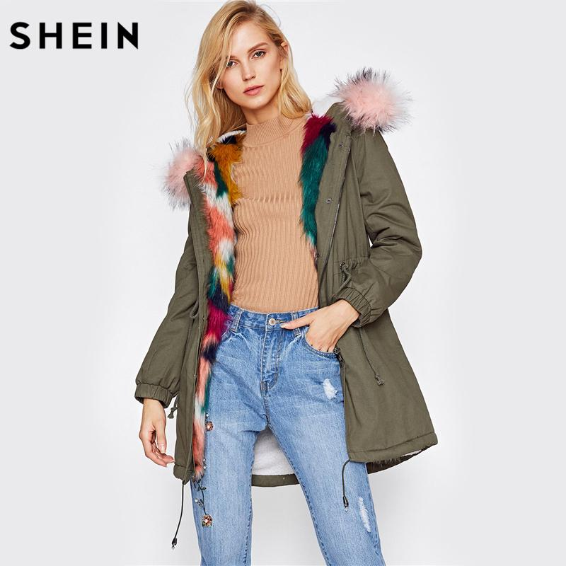 ead13433fc 2019 Wholesale SHEIN Faux Fur Trim Split Back Parka Coat Winter Coats For  Women Green Single Breasted Long Sleeve Hooded Parka From Yuanbai, ...