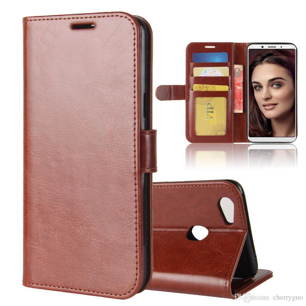 online retailer 5e218 bcb90 Case for OPPO F5, Retro Flip TPU PU Leather Wallet Stand Cover with Photo  Frame and Card Slots