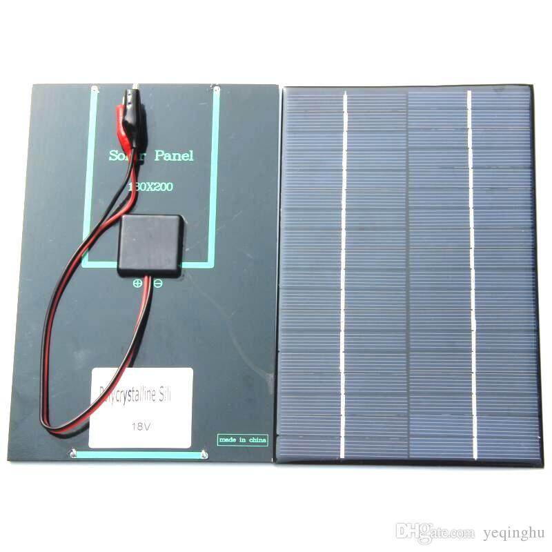 خلية NEW 4.2W 18V الطاقة الشمسية الكريستالات شمسية + التمساح كليب للحصول على شحن بطارية 12V شاحن للطاقة الشمسية 200 * 130MM و