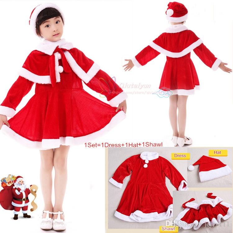 Best Baby Girls Christmas Santa Claus Fancy Dress With Shawl Hat ...