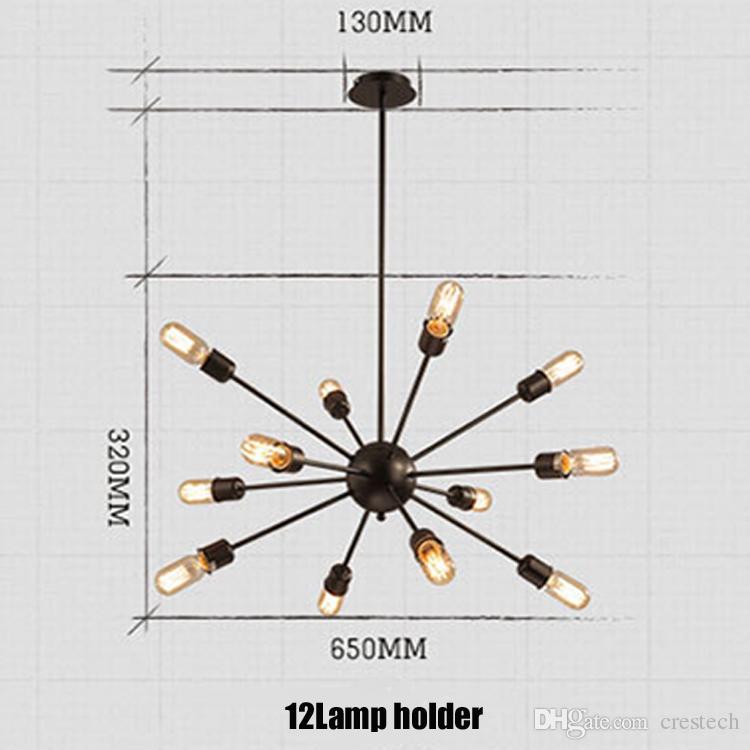 ثريات الأقمار الصناعية خمر الحديد المطاوع الحديد المطاوع الثريا الكريستال كروية العنكبوت مصباح E27 اديسون قلادة الإضاءة بار