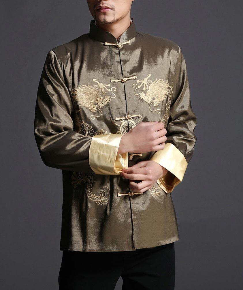 daa9d870e2d Green Kung Fu Stylish Dragon Men s Blazer Padded Jacket Shirt - 100% Silk #  106