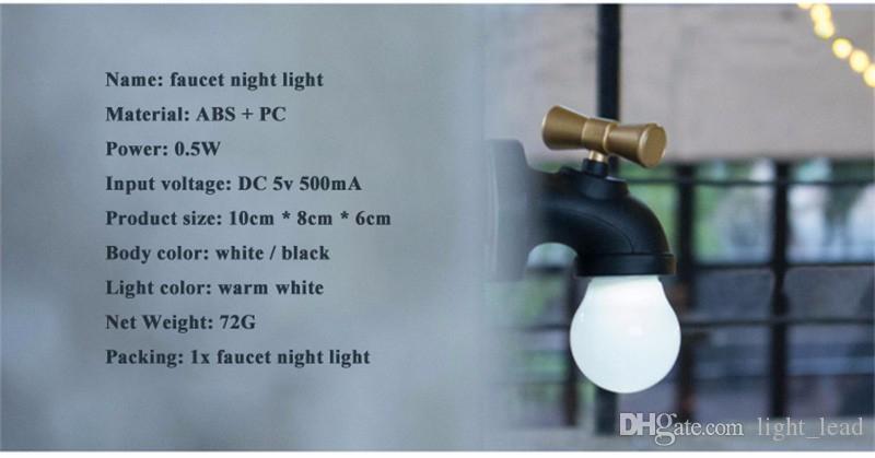 Yaratıcı Musluk Tipi Akıllı Ses Kontrolü LED Gece Lambası USB Şarj Edilebilir Dokunun Gece Lambası Ev Koridor Aydınlatma Çoc ...