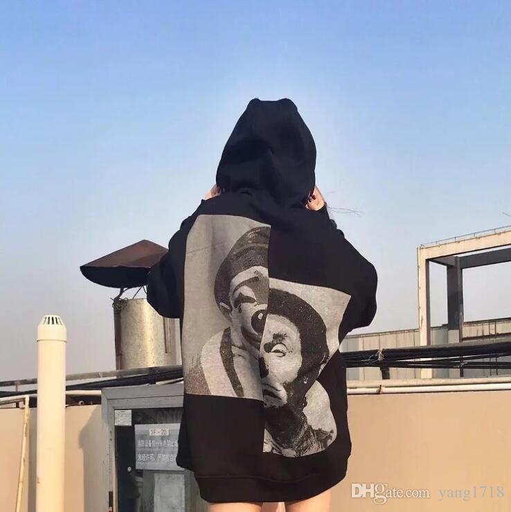 Marca de marea harajuku hip-hop kanye west patineta suéter parche payaso Hoodie manga cabeza hombres y mujeres amantes hip hop suéter