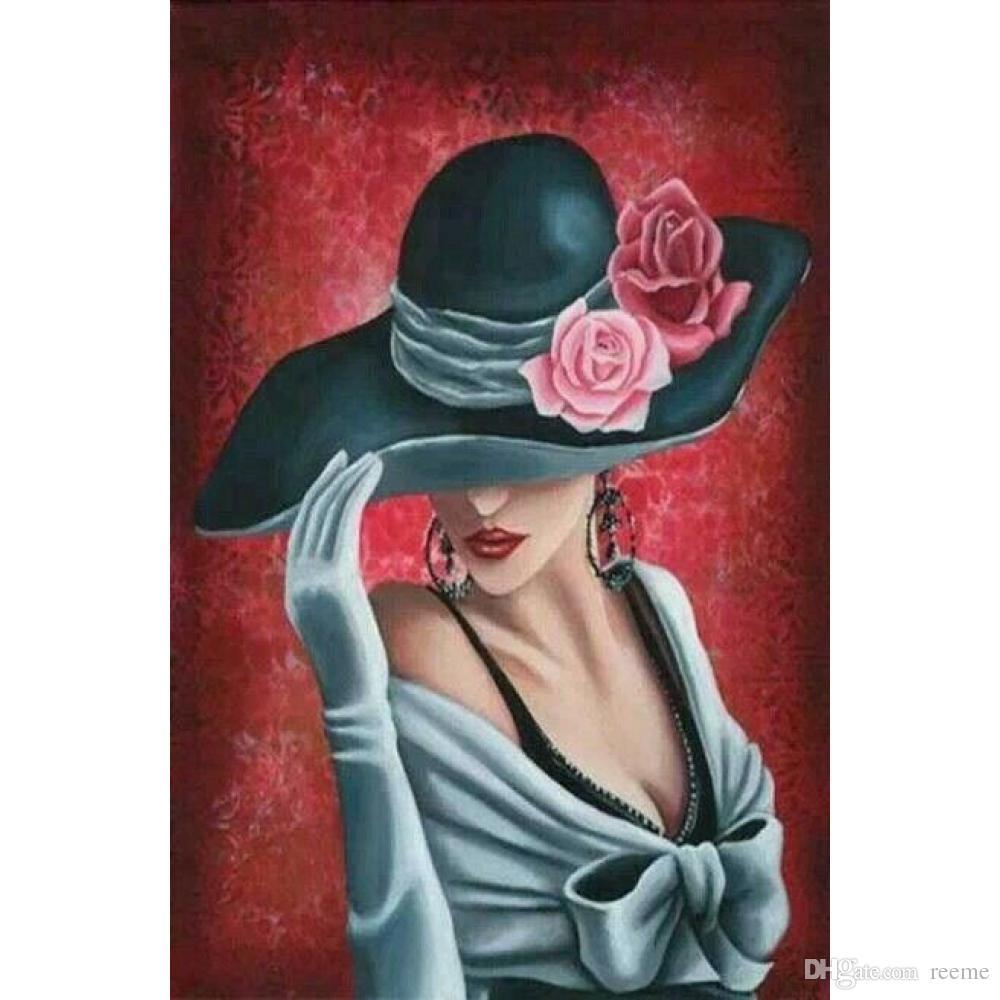 Compre Arte Abstracto De La Pared Señora Con Sombrero De Rosas Pinturas Al  Óleo Modernas Hechas A Mano Para La Decoración De La Habitación A  102.52  Del ... c8dfc4f93ff