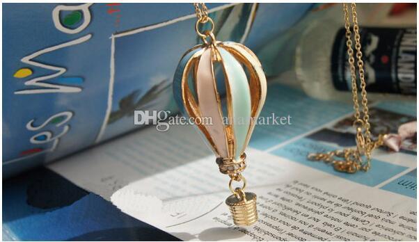جديد أزياء المرأة الملونة مجوهرات aureate بالتنقيط الهواء الساخن بالون قلادة طويلة قلادة الحب هدية 200 قطع dhl فيديكس شحن مجاني