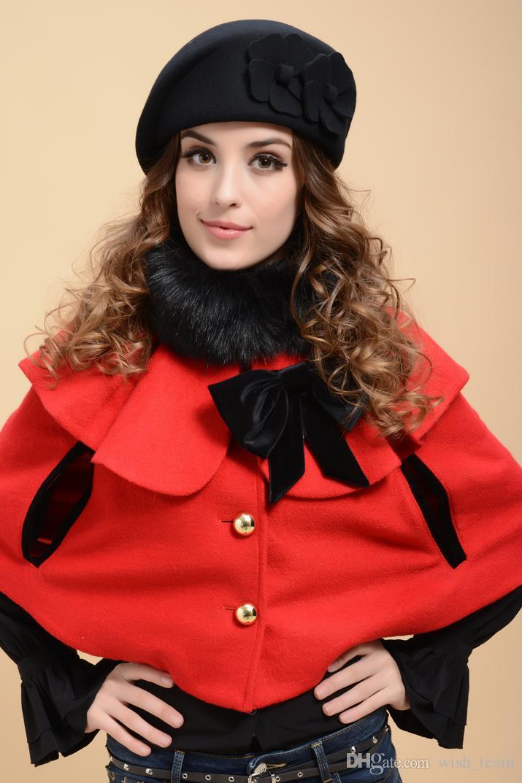 Nueva marca de moda sombrero de la boina de invierno para mujeres sombrero de la boina gorro femenino gorra de la flor francés sombrero de azafata de lana suave Trilby