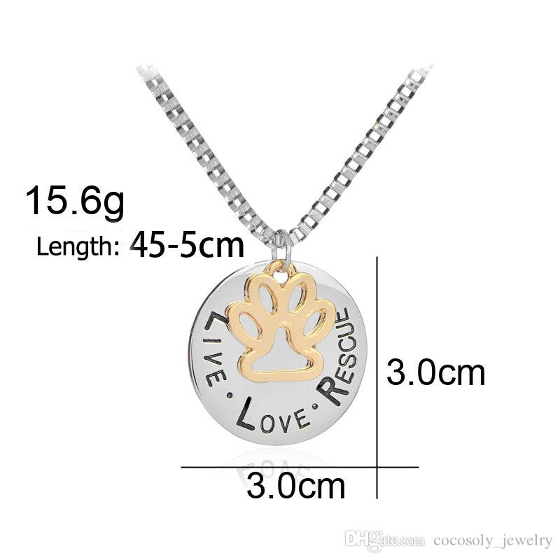 Sunshine Live Love Rescue letter Love Word dog lover necklace Cat Dog Paw Print Pendant Necklace Mothers Day new fashion