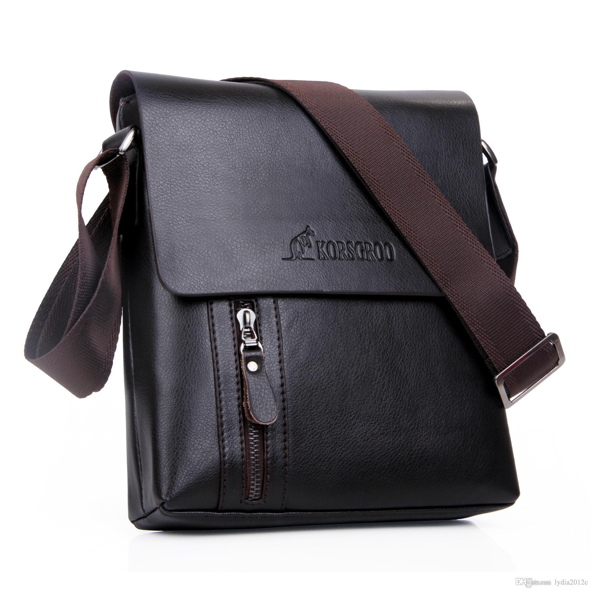 2017 Men Vertical Genuine Leather Bag Men Messenger Commercial