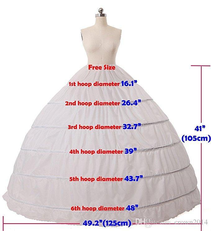 Ballkleid Braut Krinoline Petticoat 6 Reifen Slip Bodenlangen Plus Size Hochzeit Petticoat Rock Hochzeit Zubehör Günstige Versandkosten