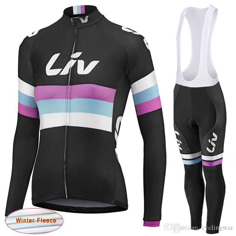 LIV 2017 New Women Winter thermal fleece Cycling Jersey bike clothing long sleeves cycling shirts+ mtb bicycle Bib Pants set D1113